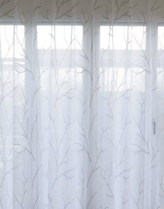 store gardine oslo ste zweige baum wei wei oder wei beige. Black Bedroom Furniture Sets. Home Design Ideas
