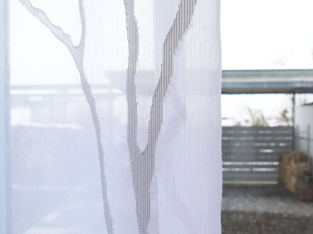 Store (Gardine) OSLO [Äste, Zweige, Baum. weiß/weiß oder weiß